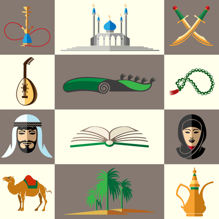 middle: Arabic, middle east flat colored icons. Arabian people and middle east mosque and swords and open book.