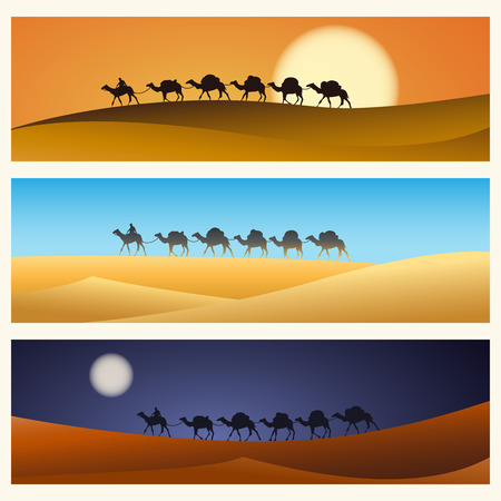 animal silhouette: Caravan in desert illustration.