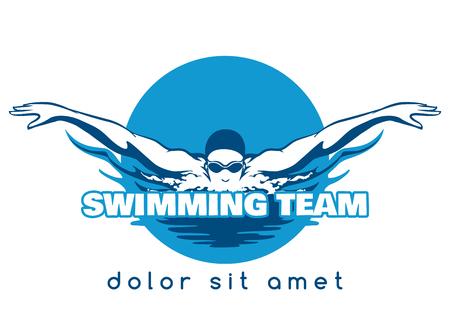 Zwemmer icoon. Stock Illustratie