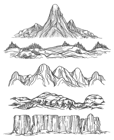 Hand drawn mountains and hills. 矢量图像