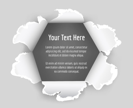 text space: Paper hole vector. Hole in sheet of paper with a space for text. Torn paper vector illustration Illustration