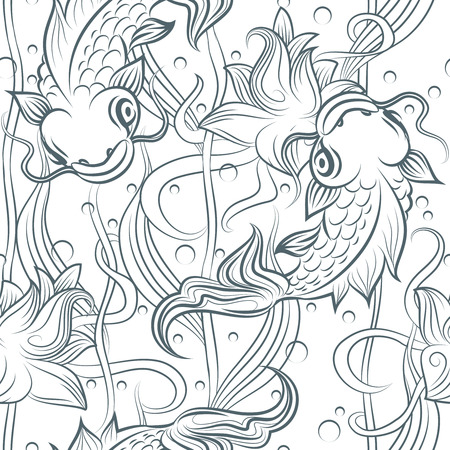 modello Koi. A mano Koi pesce seamless. Vector giapponese ilustration carpa Vettoriali