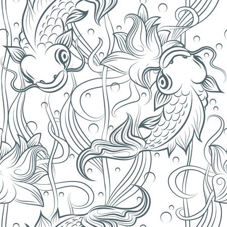 patrón de Koi. Dibujado a mano patrón transparente Koi peces. Vector japonés Infografía de la carpa Ilustración de vector