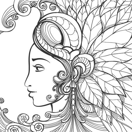 fashion portrait: Hand drawn woman portrait vector