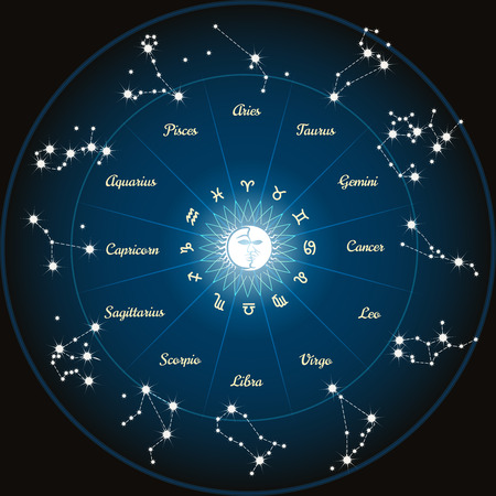 costellazioni: Cerchio con le costellazioni zodiacali. Vettoriali