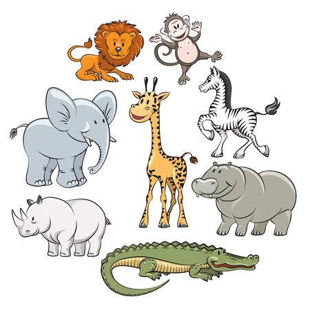 Safari de dibujos animados y animales de la selva iconos planos. ilustración vectorial