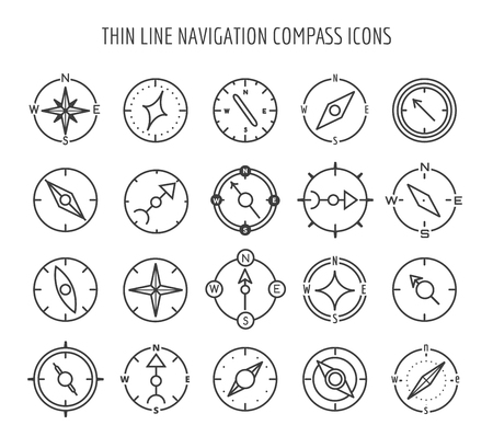 white backgroung: Linear compass icons. Thin line navigation compass icons on white backgroung. Vector illustration Illustration