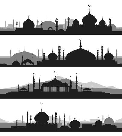 minaret: Islamic cityscape with mosque and minaret silhouettes. Mosques and minarets horizontal patterns. Vector illustration Illustration