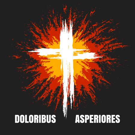 Grunge burning christian cross on black background. Vector illustration