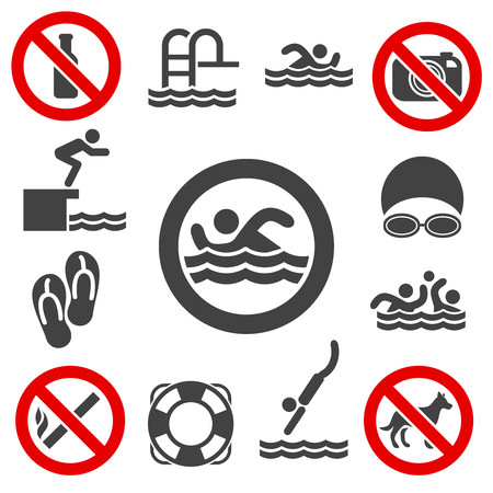 forewarning: Swimming icons. Pool swimming vector signs on white background.
