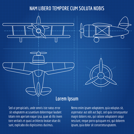 blue prints: Plane blueprint image Drawing airplane draft with text on dark blue background. Vector illustration Illustration