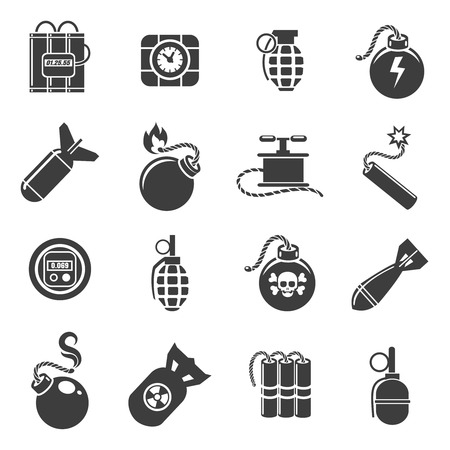 mines: Bomb icons. Bombs and grenades, mines and explosives icons. Vector illustration