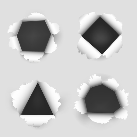 holes: Paper sheet with holes icon. Torn paper with four holes. Vector illustration