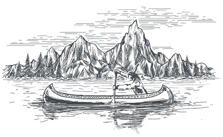 tree outline: Native american rowing indian in canoe boat on mountain landscape.