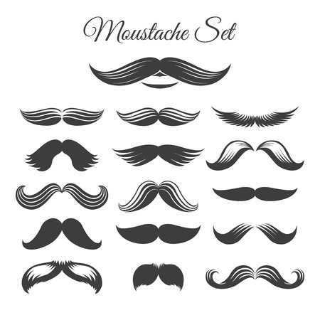 whisker: Mustaches icons. Black and white vector mustache icons or whisker signs for design with mustaches or print mustaches