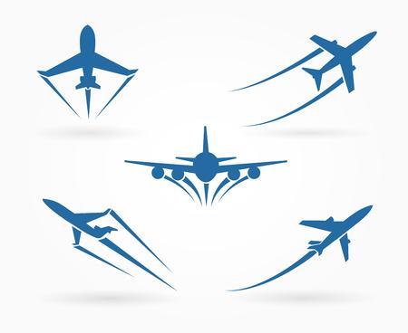 飛行機アイコンを飛んでいます。離陸飛行機のシンボル。ベクトル図