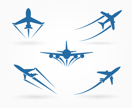 mode: Flying up airplane icons. Takeoff plane symbol. Vector illustration