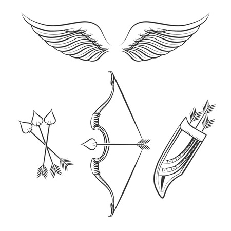 weapons: Cupid weapons icons. Hand drawn line cupid weapons on white background. Vector illustration