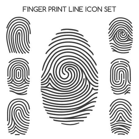 Vingerafdruk pictogrammen. Vingerafdruk lijn iconen of duimafdruk borden. vector illustratie