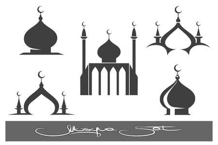 Moskeeën pictogrammen. Black moskee emblemen instellen. vector illustratie
