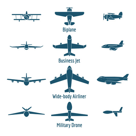 passenger plane: Different airplanes types. Retro plane and business jet, passenger plane and military drone. Vector illustration