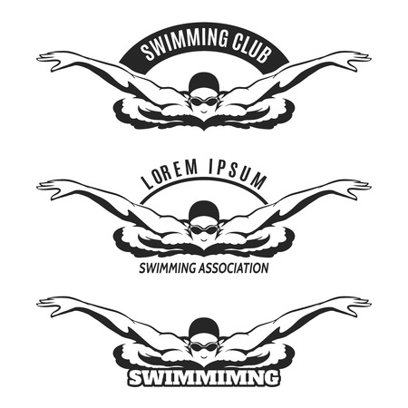 swimming race: Swimming man on wave icon