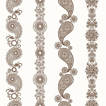 tatouage fleur: frontières Henna. Mehndi henné ornementale frontières sans soudure Illustration