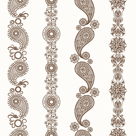 Henna borders. Mehndi ornamental henna seamless borders