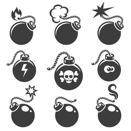 detonating fuse: Bomb signs or bomb symbols. Bomb icon with skull and crossbones