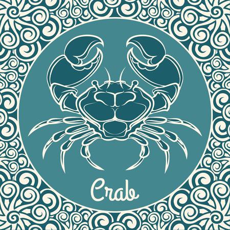 blue crab: Crab label. Crab blue ornamental template. Vector illustration Illustration