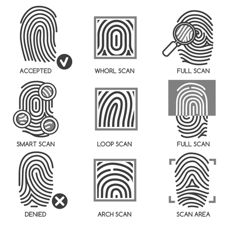 thumbprint: Fingerprint pass icons or thumbprint identification icons. Vector illustration Illustration