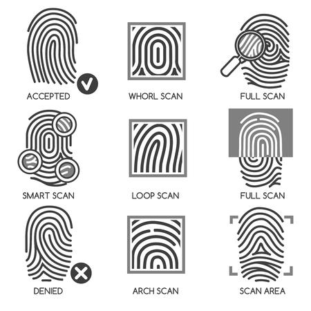 odcisk kciuka: Papilarnych ikony przepuszczanie lub ikony identyfikacji palca. ilustracji wektorowych