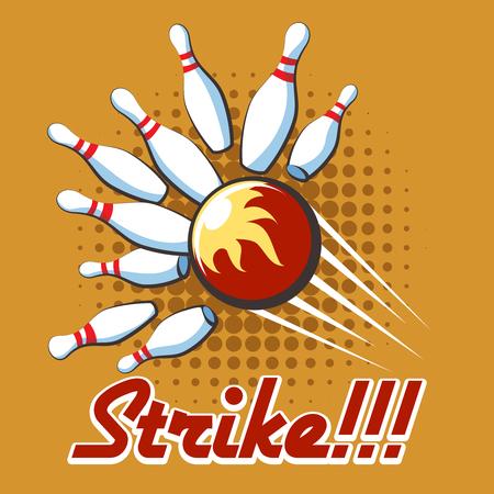 bowling strike: Bowling strike retro poster. Pop art bowling strike label Illustration