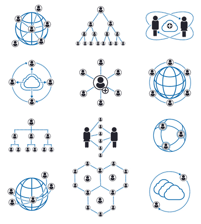 Connection and network People signs. People connection icons and people network icons. Vector illustration