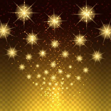 glowing lights: Glowing light stars background. Transparent glowing lights vector background Illustration