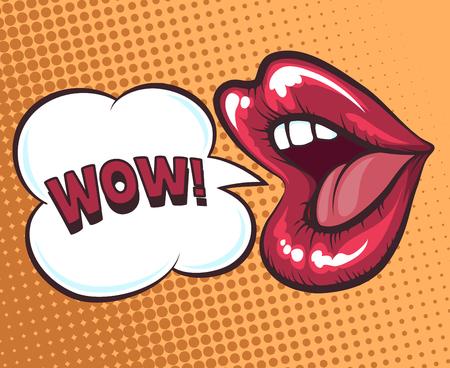 Mond met spraak bel. Wow en vrouwelijke mond in pop art stijl concept voor reclame of poster. vector illustratie Stock Illustratie