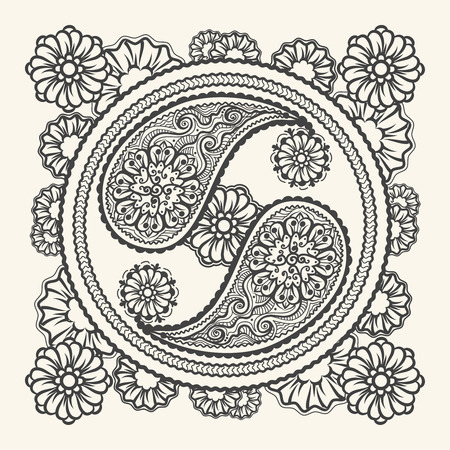 tao: Hand drawn yin-yang sign. Stylish Tao sign in paisley ornament style Illustration