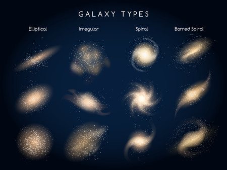 barred: Galaxy types icons. Galaxy morphological classification.