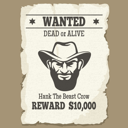 Wanted dead or alive poster. Vintage western wanted poster with cowboy face. Ilustracja