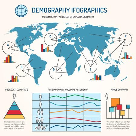 masses: Demographic infographics. Human line vector infographics template