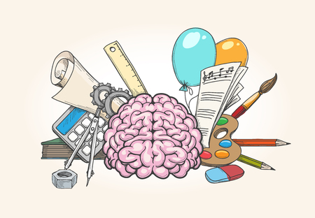 Left and right brain concept. Human brain creativity and analytical skills hand drawn vector illustration Vettoriali