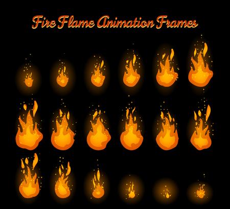 Vlam van de brand animatie frames voor vuurval vector illustratie