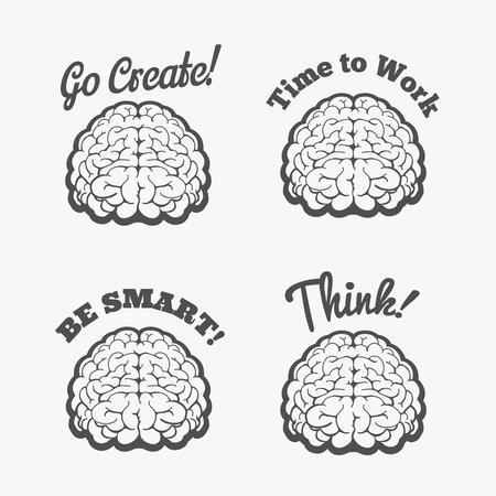 smart thinking: Human brain logo set. Vector brain thinking badges or smart brain stickers