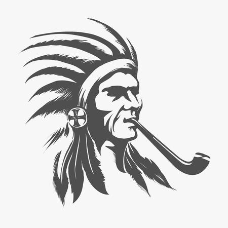 로고 또는 amblem 벡터 일러스트 레이 션을위한 원주민의 아메리칸 인디언 얼굴 일러스트