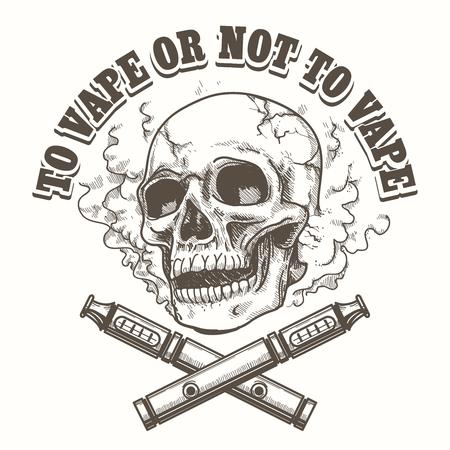 E-cigarette logo template with skull. Vape label or vape shop emblem. Vector illustration