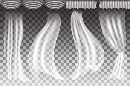 Different shapes curtains on transparent background. Vector illuatration Vectores