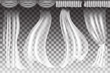 Verschillende vormen gordijnen op transparante achtergrond. Vector illuatration