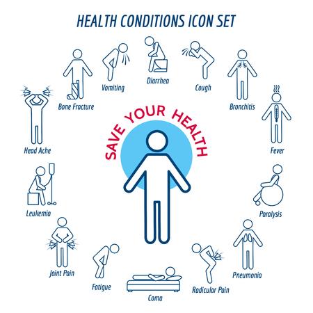 paralysis: Health conditions icons and diseases signs. Vector illustration