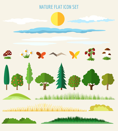 variety: Nature flat icons. Eco life flat signs. Vector illustration