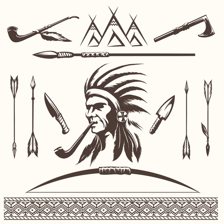 wigwam: Ethnic elements vector. Native american indian or aztec arrows and borders